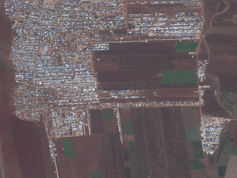 Informal displacement camps in Idlib shown from the satellite