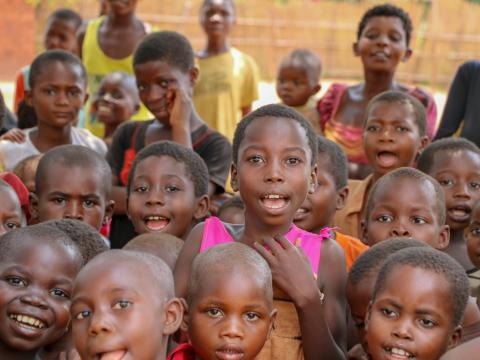 A crowd of children in DR Congo