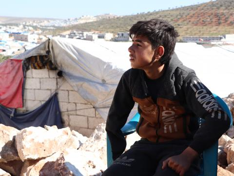 Kid in camp in Idlib