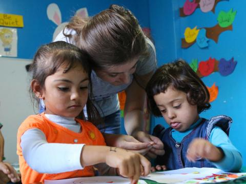 Young children learn in a World Vision-supported early childhood education centre