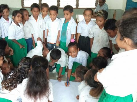 school children in Timor-Leste practice disaster readiness