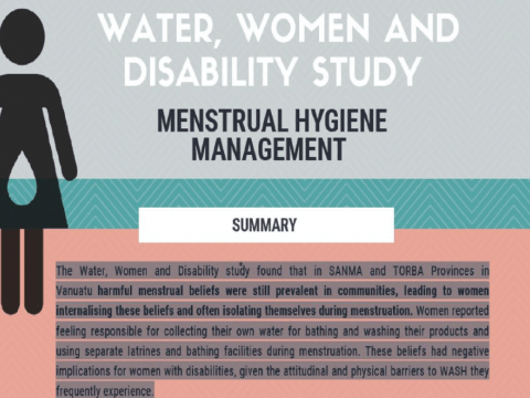 Water, women and disability - menstrual hygiene management