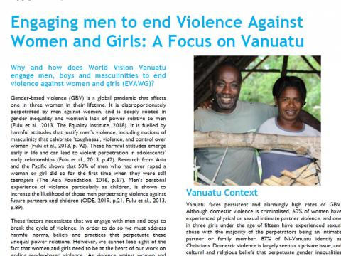 Engaging men to end violence against women and girls: a focus on Vanuatu