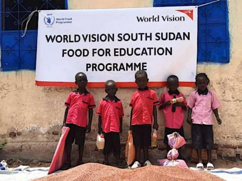 World Vision and WFP distribute take-home food for students out of school in South Sudan