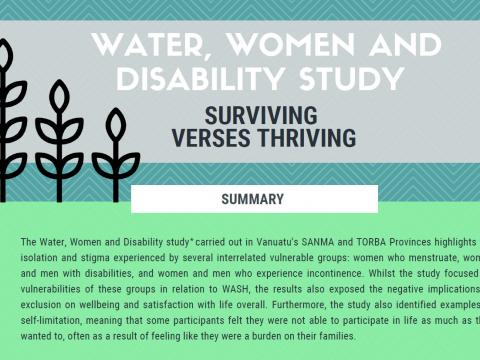 Water, women and disability study - surviving vs thriving