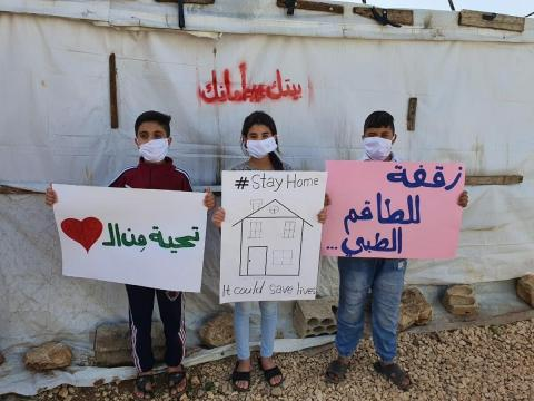 Syrian refugee children promote proper hygiene to protect themselves and others from COVID-19