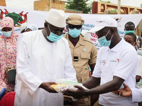 World Vision hand over of a lot of protectives materials to Niger republic mediator