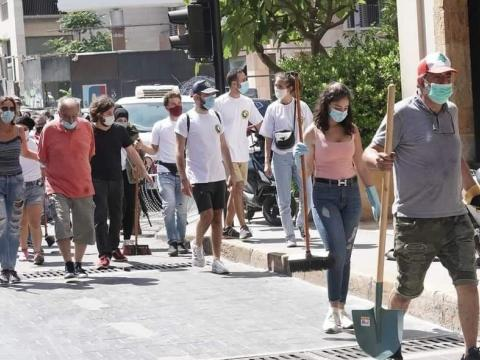 Residents of Beirut clean up after the tragic explosion of Aug. 4, 2020
