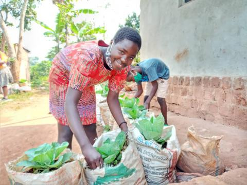 World Vision Uganda Resilience Livelihood kitchen gardens gardening fighting COVID-19 health nutrition boosting immunity vulnerable children families communities sharing hope love Jesus Christ Christians Responsive