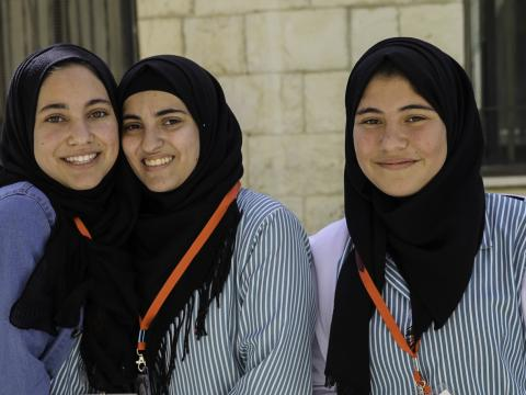 Girls outside their school in the West Bank