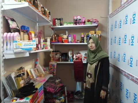 Rafida in her home built in shop