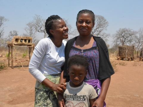 Reese (left) with two of her children Nakisha (right) and Beenzu (centre)..