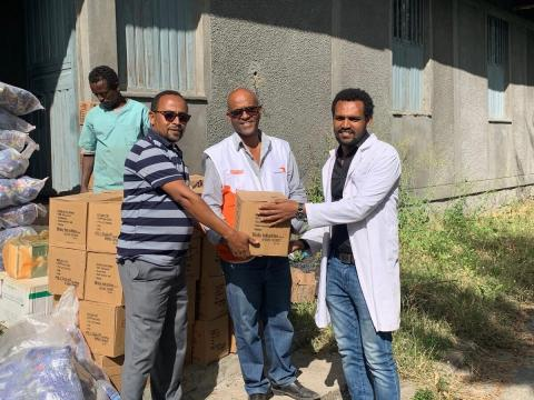 World Vision Staff provide much-needed medical supplies to a hospital affected by conflict in Tigray, Ethiopia