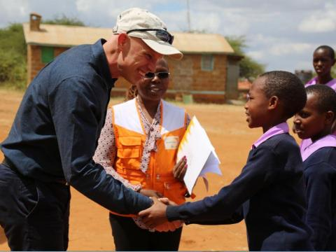 World Vision President and CEO, Andrew Morely, meets children in Kenya