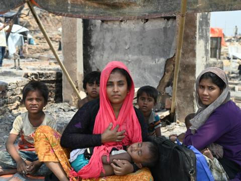Thousands of Rohingya refugees are left without shelter due to a fire in Cox's Bazar, Bangladesh