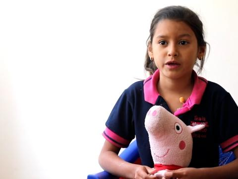 Reishell fled Venezuela for Ecuador with her Peppa Pig toy