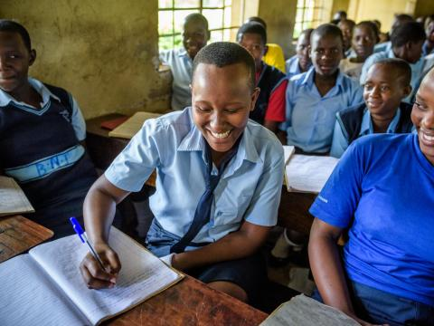 Janet, student in school in Uganda, values education more than child marriage