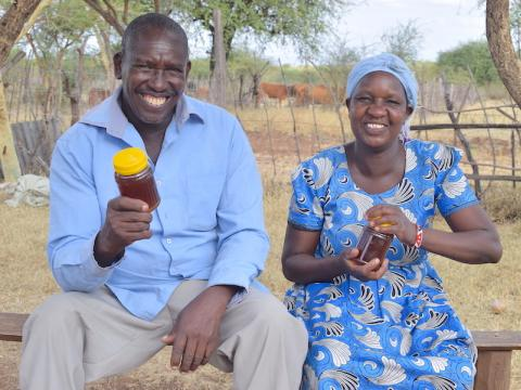 Featured photo at the top: Titus (left) and his wife Damaris with honey harvested from their beehives in Mogotio, Baringo County, Kenya.Titus (left) and his wife Damaris with honey harvested from their beehives in Mogotio, Baringo County, Kenya.