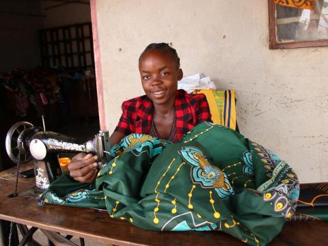 Sponsored child from Zambia learns to sew