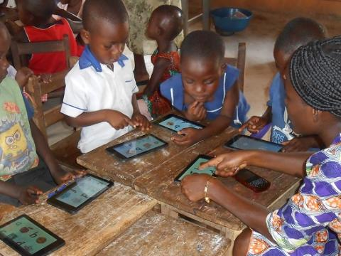 Teachers in Ghana use technology to help children learn in class