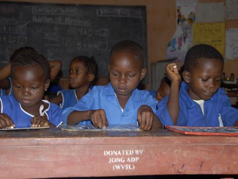 Children in Jong enjoying quality education