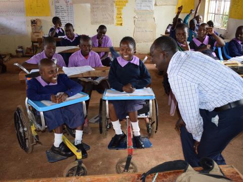 Isabella,13, from Western Kenya participates actively in class, thanks to the wheelchair that was donated to her by World Vision. ©2018 World Vision/Photo by Sarah Ooko
