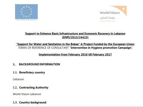 World Vision Lebanon - Call for tender:Advertising Firm - EU
