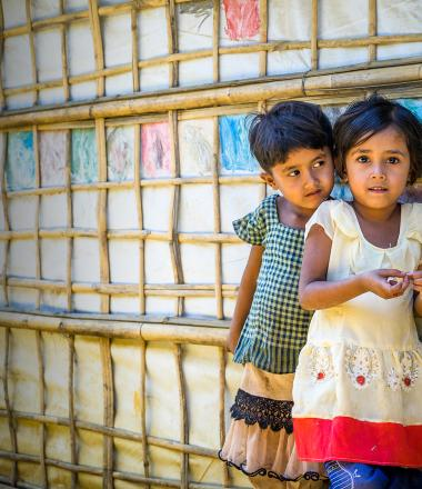 Two children in a Bangladesh refugee camp