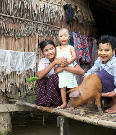 Livelihoods - family with pig