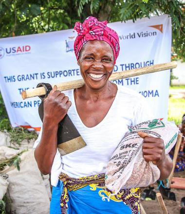 Woman who received food support in Zambia