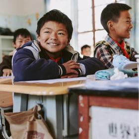 A Chinese boy at school