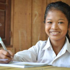 Khmer girl studying at home