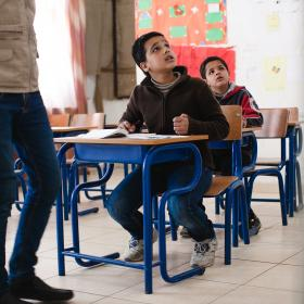 Syria refugee Radwan at school