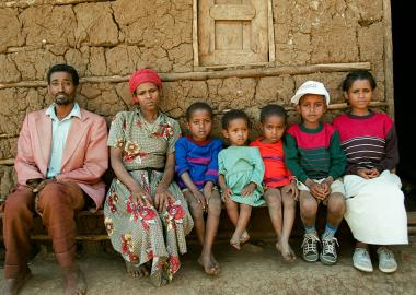 Family enduring the Ethiopian famine