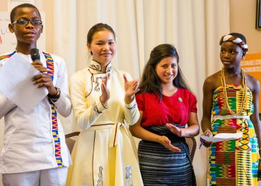 "Justice Alor, Narangel Tsendbaatar, Olga Obac, Abigail Edeh - Young Leader Delegates at ""It Takes A World"" launch in Geneva, Switzerland"