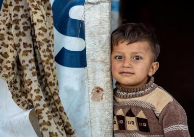 Syrian refugee boy refugee camp