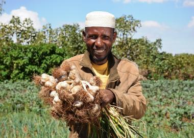 """Since I started producing vegetable crops, I am able to provide balanced diet food for my family. Worries of Writing materials provision and medication expense have gone from my thought,"" happily says Mohammed."