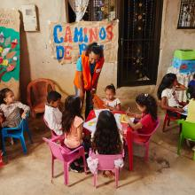 A World Vision employee teaches in Colombia