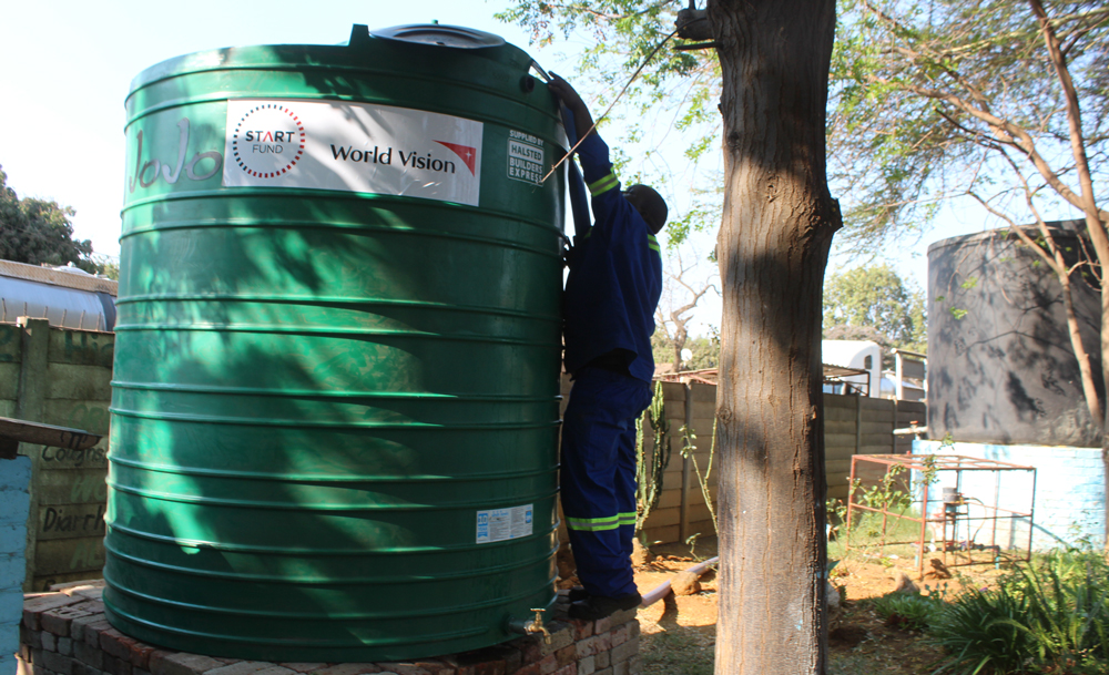 Fifteen schools have been provided with 5000-litre water tanks