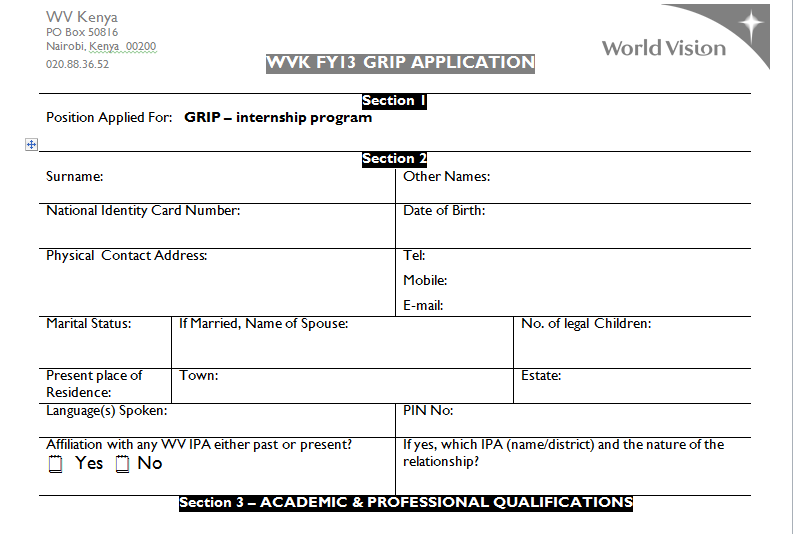... form world vision kenya graduate internship program application form